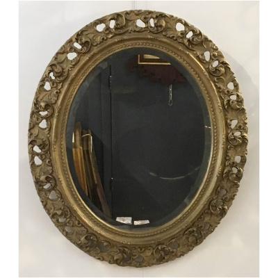 Antique Oval Beveled Mirror w/Gilt Fame
