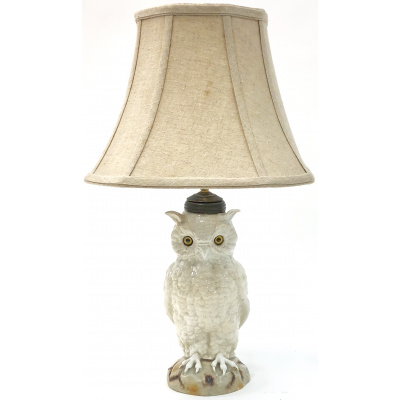 Antique Porcelain White Owl Lamp *Hold