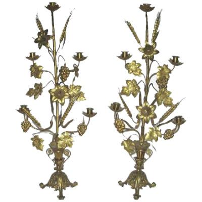 Antique Brass Harvest Candelabras - Pair