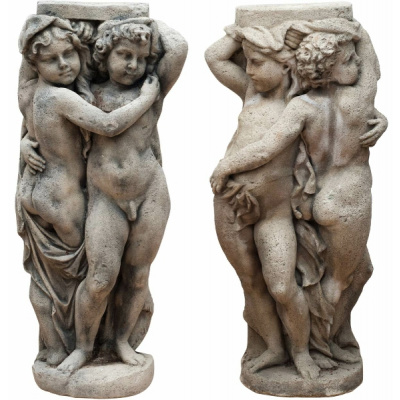 Antique Pair of Stone Embracing Putti