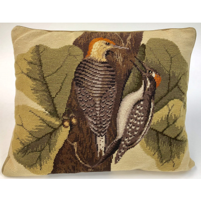Chinese Needlepoint Woodpecker Pillow