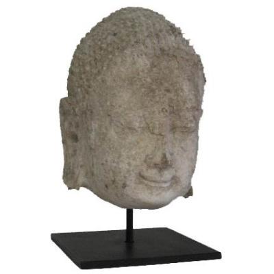 Antique Buddha Head on Metal Base