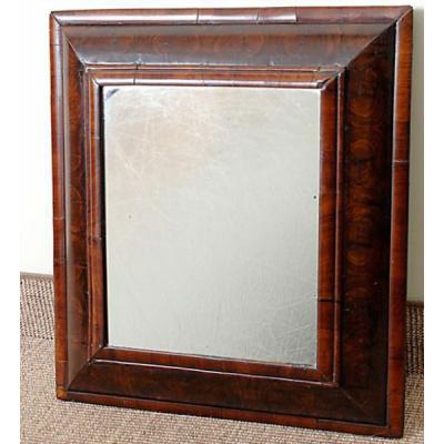 Antique Oyster Wood Cushion Mirror