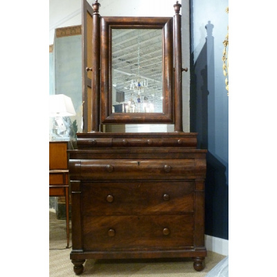 Antique Mahogany Empire Chest w/Mirror