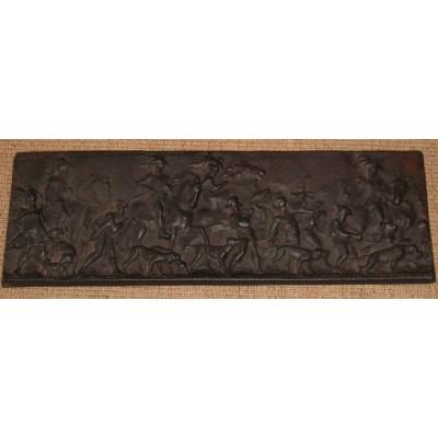 Antique Cast Iron Hunting Plaque