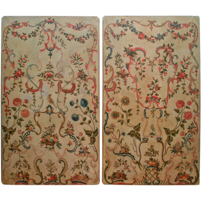 Antique Pair of French Painted Panels
