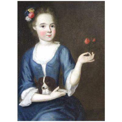 Antique English Child Portrait w/Rose