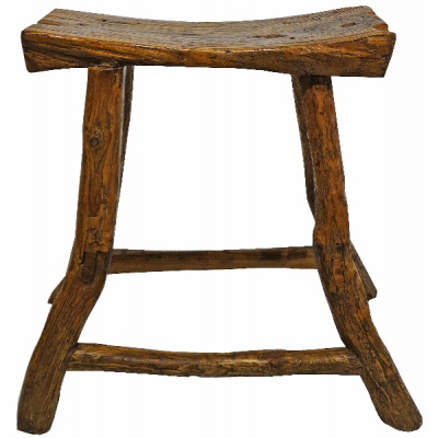 Antique Asian Elm Saddle Stool