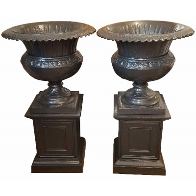 "Antique Pair of Petite""Bell"" Garden Urns"