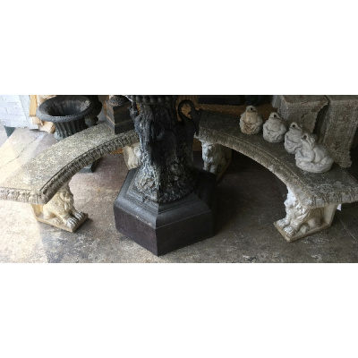 Pair Cast Stone Curved Bench w/Lion Base