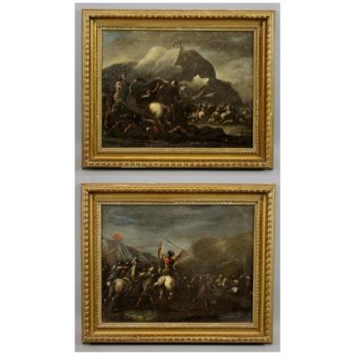 Antique Pr of Continental War Scene Oils
