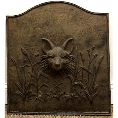 Antique Cast Iron Fox Head Fireback