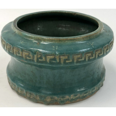 Antique Chinese Turq Pot w/Greek Key Des