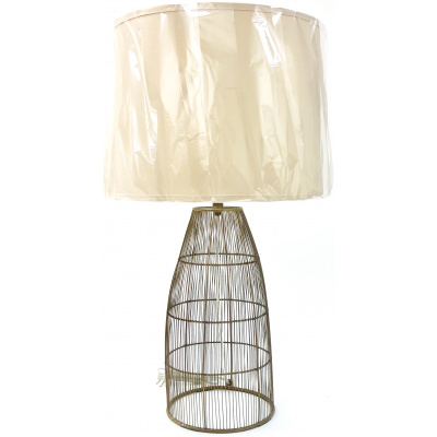 Aged Brass Woven Wire Cage Lamp