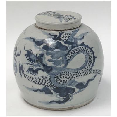 Antique Chinese Blue & White Balloon Jar