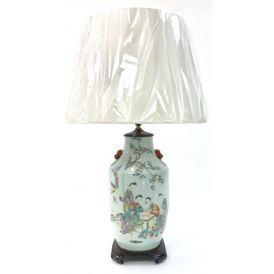 Antique Large Chinese Famille Rose Lamp