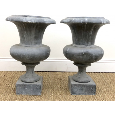 Empire Style Pair of Lead Urns