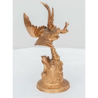19th c. Bronze Dore' Perched Bird