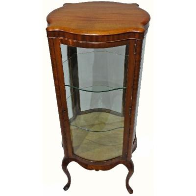 Antique Round Serpentine Display Cabinet
