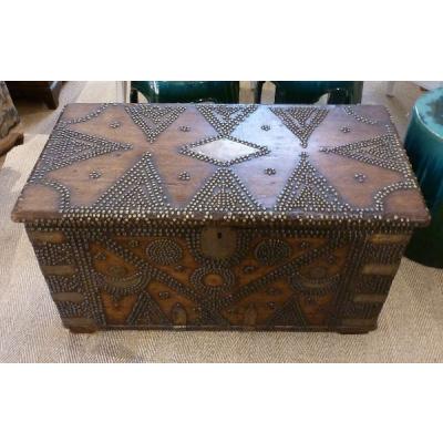 Antique 18th c.Mahogany Trunk w/Nailhead
