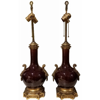 Antique Pair Brown Lamps w/French Mounts
