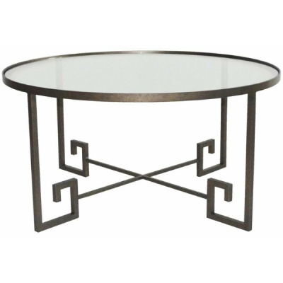 Metalworks Greek Key Cocktail Table-Glas