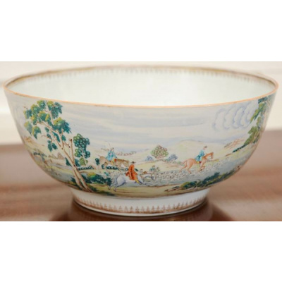 Antique Chinese Export Hunt Punch Bowl