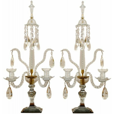 Antique Pair Scottish Crystal Candelabra