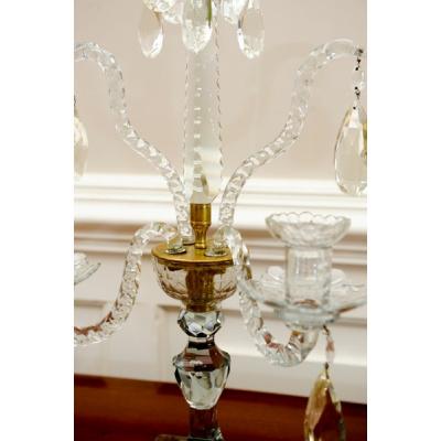 Antique Pair Scottish Crystal Candelabra