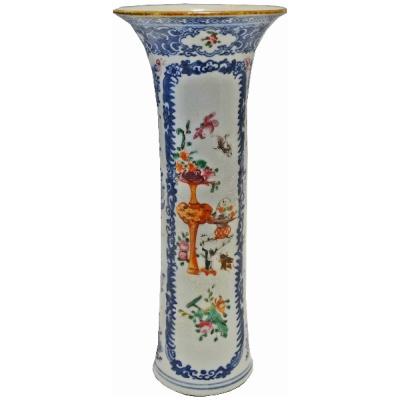 Antique Chinese Famille Rose Trumpet Vas