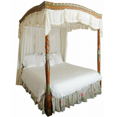 Antique Painted Fruitwood Testor KingBed