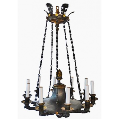 Antique Neoclassical 10 Light Chandelier