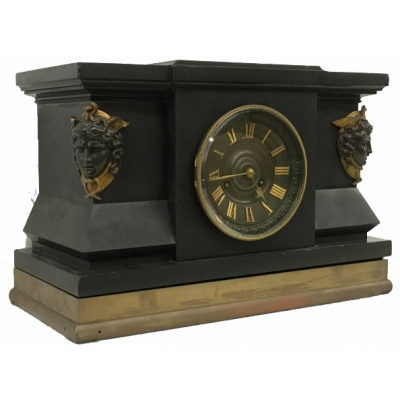 Antique Empire Black Slate Clock