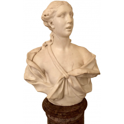 Antique 18th c Bust of Ceres on Pedestal
