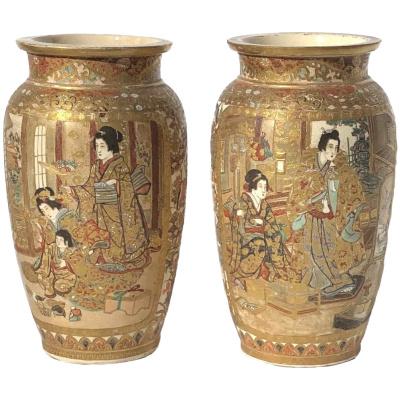 Antique Pair Meiji Period Satsuma Vases