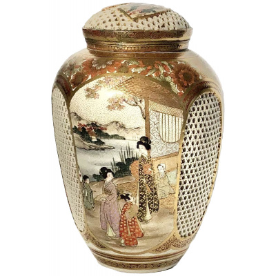 Antique Meiji Satsuma Pierced Jar w/Lid