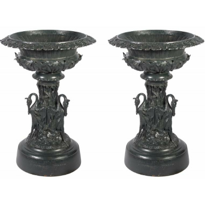 "Antique Pair of ""Mott"" Egret Garden Urns"
