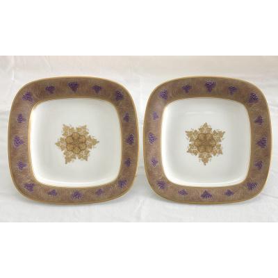 Antique Pair Royal Worcester Sq Bowls