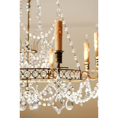 Antique Baltic Bronze/Crystal Chandelier
