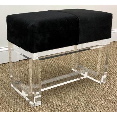 Alba Acrylic Stool w/Black Cow Hide