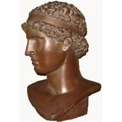 Antique Male Youth Bronze Bust