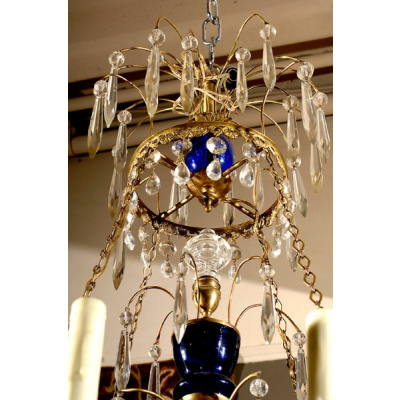 Antique Swedish 8Arm Chandelier w/Cobalt