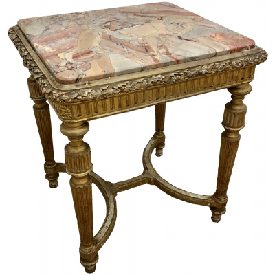 19th c. Louis XVI Style Table w/Marble
