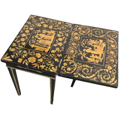 English 19th c. Miniature Penwork Table