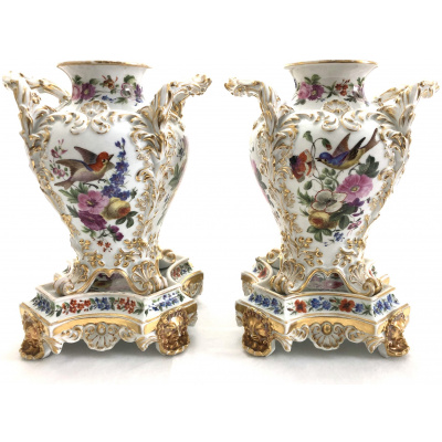 Antique Pair Jacob Urns on Stands