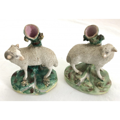Antique Staffordshire Sheep Spill Vases