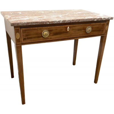 Antique Mahogany Table w/Rose Marble Top