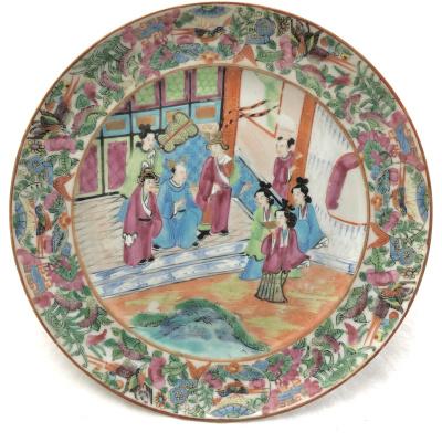 19C Chinese Famille Rose Mandarin Plate