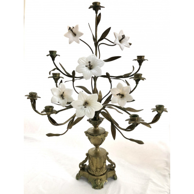 19th c. Pair of Brass Floral Candelabras