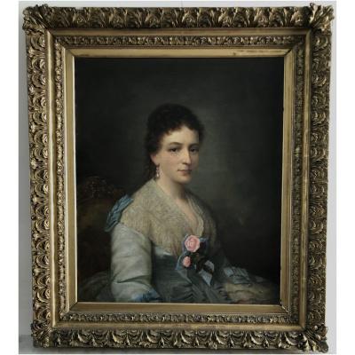 """Antique """"Balling"""" Portrait of Lady"""